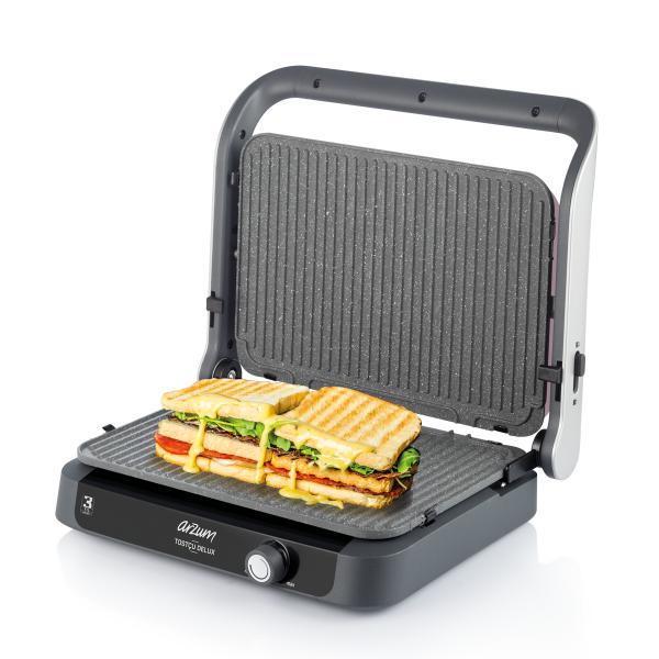 AR2027 Tostçu Delux Grill and Sandwich Maker - Pomegranate