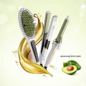 AR5054 Superstar Pearl Effect Saç Düzleştirici Fırça - İnci - Thumbnail