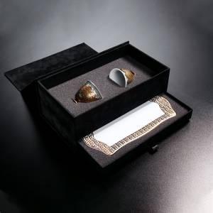 OK906 OKKA İsmail Acar 2'Li Fincan Ve Küçük Tepsi Set - Beyaz - Thumbnail