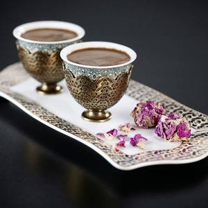 - OK906 OKKA İsmail Acar Coffee Cup Set of Two with Tray - White